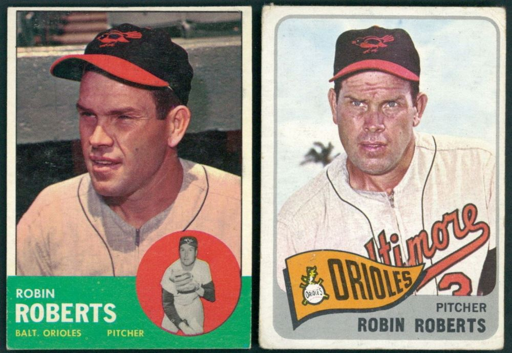 Lot Of 2 Robin Roberts Baseball Cards With 1963 Topps