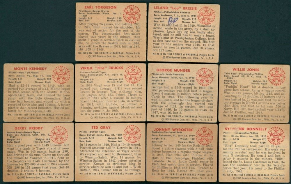 Lot Of 10 1950 Bowman Baseball Cards With 48 Lou Brissie