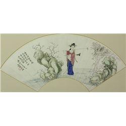 Chinese WC Fan Painting Framed Jiang Zhendong