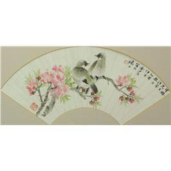 Chinese WC Bird Fan Painting Jin Shaoshi b.1869