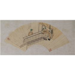 Chinese Fan Painting of Amorous Couple