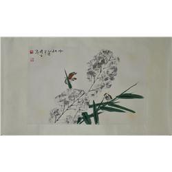Chinese WC on Paper Bird Zhou Yansheng 1942-