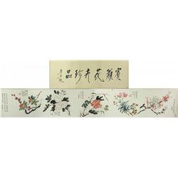 Chinese WC Flower Scroll Huang Binhong 1865-1955