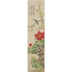 Chinese Birds & Flowers Scroll Leng Mei 1669-1742