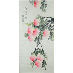 Chinese Watercolour Peach Zhang Wentao 1764-1814