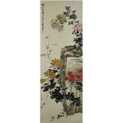Chinese WC Painting Scroll Qian Songyan 1899-1985