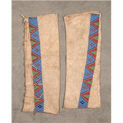 "Blackfeet Beaded Man's Leggings, 28"" x 3"""