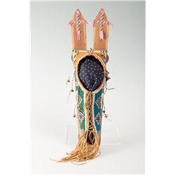 "Kiowa Beaded Toy Cradle, 19 ½"" long"