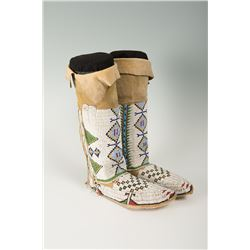 """Sioux Fully Beaded Woman's Hightop Moccasins, 13 ½"""" tall"""