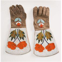 """Blackfeet Beaded Gauntlets, 15"""" x 7 ¼"""""""