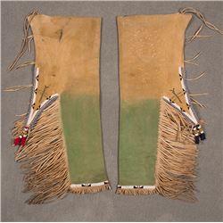 """Southern Plains Beaded Leggings on Buffalo Hide, 32"""" x 12"""""""