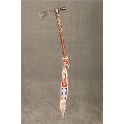 "Crow Beaded Pipe Tomahawk, 22 ½"" brass tacked haft"