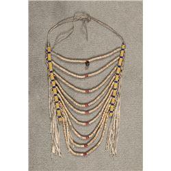 "Crow Beaded Heishi Loop Necklace, 14"" x 11"""