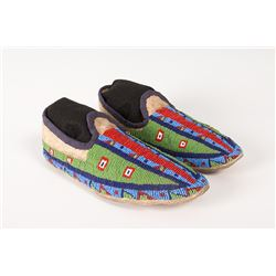 """Northern Plains Man's Beaded Moccasins, 10"""" long"""