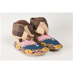 """Northern Plains Beaded High Cuff Moccasins, 10 ½"""" long"""