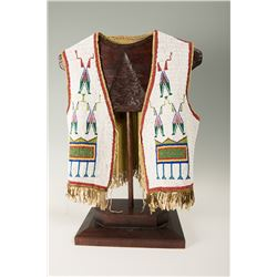"""Sioux Fully Beaded Man's Vest, 19"""" tall"""