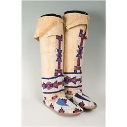 "Cheyenne Beaded Hightop Moccasins, 16"" tall"