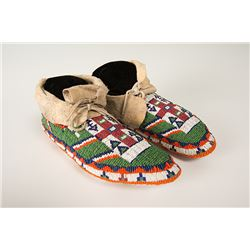 """Sioux Beaded Woman's Ceremonial Moccasins, 9 ½"""" long"""