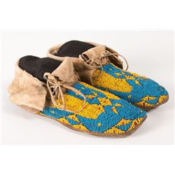 """Northern Plains Beaded Woman's Moccasins, 9 ½"""" long"""