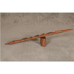 "Northern Plains Carved Pipe Stem, 37"" long"