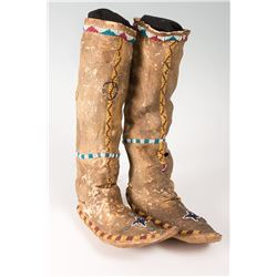 """Apache Beaded Childs High Top Moccasins, 13"""" tall x 8"""" long"""