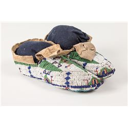 """Sioux Beaded Woman's Ceremonial Moccasins, 9"""" long"""