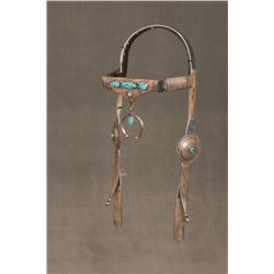 """Navajo Sterling Silver and Turquoise Headstall, 22"""" long"""