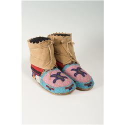 """Eastern Indian Beaded Woman's Moccasins, 9 ½"""" long"""