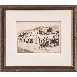 Ed Borein, drypoint etching