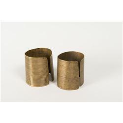 "Striped Cloud's (Sioux) Brass Cuffs, 2 ½"""