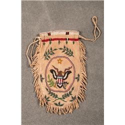 """Santee Sioux Beaded Pictorial Bag, 11"""" long x 6"""""""