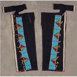 "Sioux Beaded Man's Leggings, 31"" long"