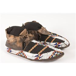 """Northern Plains Man's Beaded Moccasins, 10 ½"""" long"""