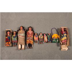 Collection of Ten Skookum Dolls