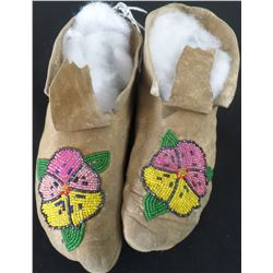 Antique Beaded Deerhide Moccasins