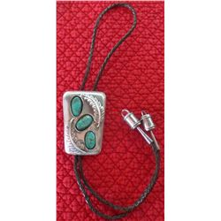 Signed Sterling Silver and Turquoise Bolo Tie