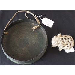 Antique Chinese Gong and Stone Elephant