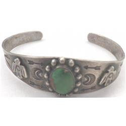Cuff Navajo Sterling Silver and Turquoise Bracelet