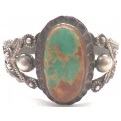 Cuff Turquoise and Navajo Sterling Silver Bracelet