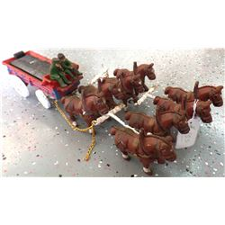 Cast Iron Clydesdale Horses and Wagon