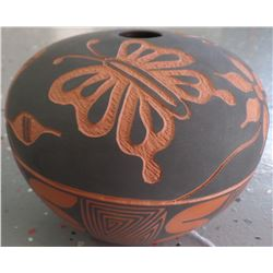 Acoma Carved Olla with Butterflies