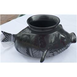 Mata Ortiz Black Fish Effigy Pot
