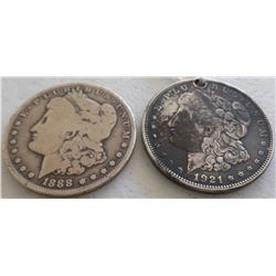 Two Morgan Silver Dollar