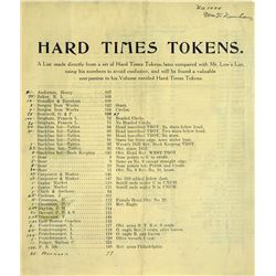 Dunham's Scarce 1910 Guide to Hard Times Tokens, Annotated