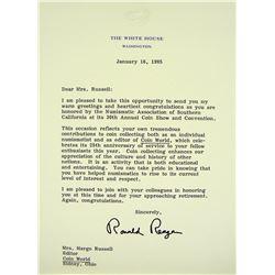 Ronald Reagan Congratulates Margo Russell