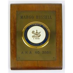Margo Russell's ANA Membership Plaque