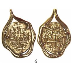 Mexico City, Mexico, cob 1 escudo, Philip V, assayer not visible (style of 1702-10), mounted in 14K