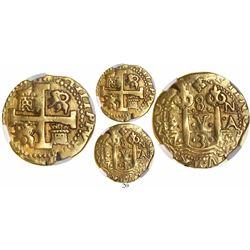 Lima, Peru, cob 8 escudos, 1735N, encapsulated NGC VF details / mount removed, ex-Newman.