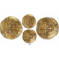 Bogota, Colombia, cob 4 escudos, 1752S, encapsulated NGC AU 50.
