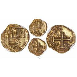 Bogota, Colombia, cob 2 escudos, 1648R, rare, encapsulated NGC AU 58, ex-Eliasberg.